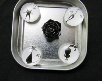 Cat fridge magnet set of 4 black cats and a resin black rose magnet in a gift tin, neodymium magnets, strong magnets 528