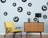 Retro Wall Decal, Mid Century Modern, Circle Wall Decals, Modern Nursery Decor, Dorm Decor, Retro Wall Decor, Mod Wall Decor