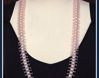 Vintage Pastel Pink Necklace, Faux White Pearls, Long Length, Dog Bone Beads, 1970's