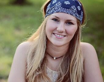 Women's Headscarf, Navy Blue Hair Band, Festival Headband, Gypsy Headband, Dark Blue Running Bandana (#4020) S M L X
