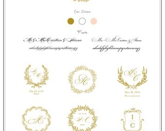 Custom Crest Monogram. Wedding logo. Wedding Monogram. Wedding Stationary. Monogram