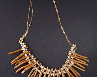 SALE Golden Coral and Pearl Necklace Double Strand Slender Coral Sticks w Luminous Pearl Flakes on Delicate Chain Ocean Beach Jewelry
