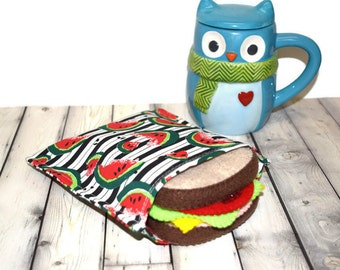 Reusable Sandwich Bag Eco Friendly Watermelon Stripes Ready To Ship SALE!