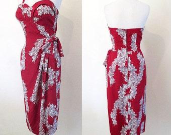 Killer 1940's Hawaiian Rayon Print Sarong Dress Curve Hugging Party Dress Pinup Girl Tiki Rockabilly Pool Party Hourglass Size-Medium