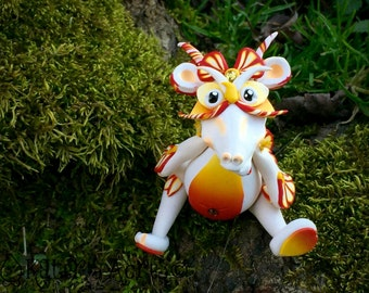 Polymer Clay Dragon 'Sunset' - Limited Edition Handmade Collectible