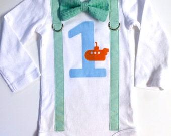 Under the Sea Birthday Outfit. Baby Boy First Birthday Shirt. Submarine Theme. Boys 2nd Birthday. Mint Seafoam Green Underwater.