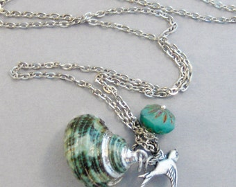 Ocean's Song,Shell Necklace,Shell Pendant,Nautical Necklace,Ocean Necklace,Bird Necklace,Bird Pendant,Sparrow Necklace,Green Necklace