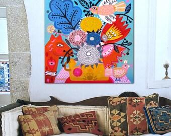 Corazon Magico . Original painting folk art ,wall art, mexican, flowers,frida, floral, style, decor.