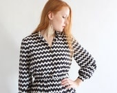 Geometric black and white dress, vintage, Japan, small