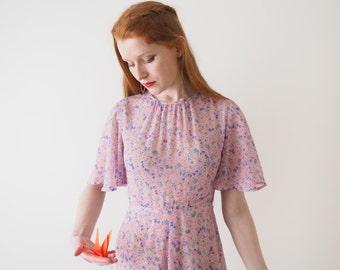 Blue cherries, light pink summer dress, Japan, xs - small