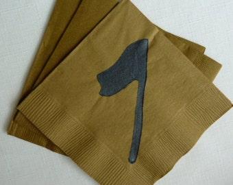 Golf Flag Paper Cocktail Napkins - Gold and Black