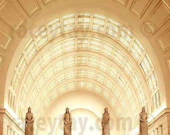 Union Station - Washington DC Art Deco Architecture - Gold Yellow - Travel Photography Office Decor