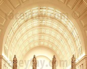 Washington DC Print, Gold, Yellow, Union Station, Art Deco, Architecture, Travel Photography, Office Decor