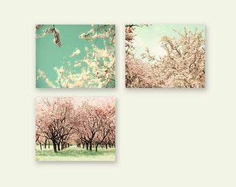 SALE, Pastel Wall Art, Set of 3 Prints, Pink, Mint, Cherry Tree Prints, Girl Nursery Decor, Flower Photography