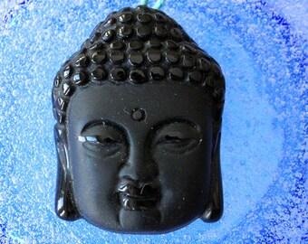 Buddha Beads - Black Onyx Glass Buddha Pendant  bead- Jewelry Making Supply - 32x24mm - Meditation