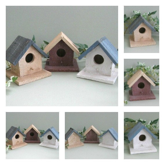 Wood Birdhouse Decor Rustic Birdhouse Ornament Wood Bird House Blue Decorative Birdhouse Decoration Wooden Country Primitive