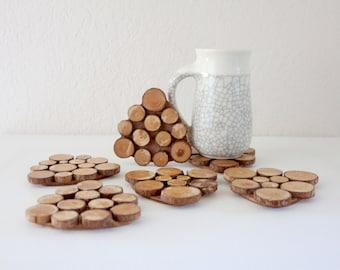 S A L E wooden log coasters / set of 6