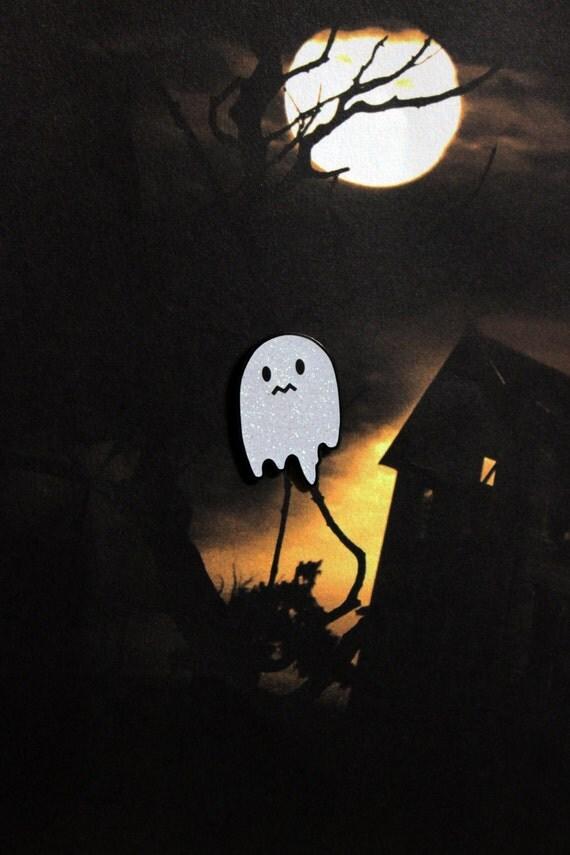 Uneasy Ghost Glitter Enamel Pin - Black Nickel with Iridescent White Glitter