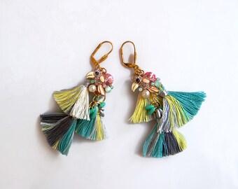 Tropical Statement Earrings, Tassel Earrings, Rhinestone Parrot Earrings