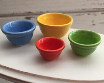 Miniature Porcelain Nesting Bowls, Dollhouse 1:12 Scale, Mixing Bowls, Colored Bowls, 4 Piece Set