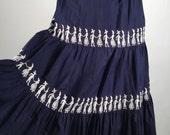 Vintage 1950's Skirt, Women's Novelty Print Skirt, Navy Blue, White, Folk Art Dancing Couples, Cotton, Tiered, Embroidered, Mischievous!