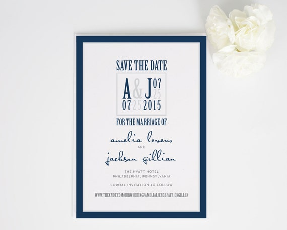Modern Navy and Gray Save the Date Card with Unique Funky Monogram for an Urban Contemporary Wedding - Modern Logo Deposit