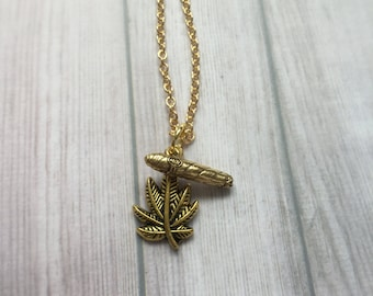 420 Pot leaf and Blunt necklace