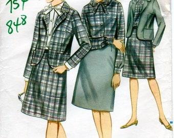 1960s Womens Suit Pattern - Vintage Butterick 3472 - Bust 32