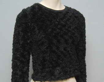 Vintage 1990's Long Sleeve Furry Black Crop Top