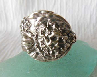 Flower  Antique Sterling Silver Spoon Ring  size 9