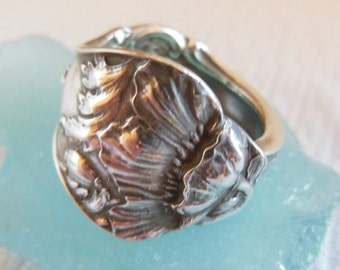 Antique Sterling Silver Spoon Ring size 7 and a half  Poppies