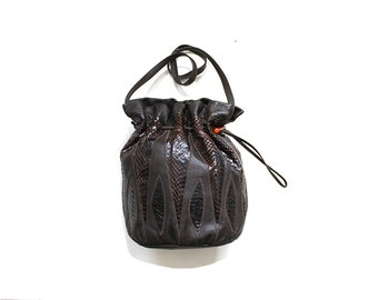Vintage Leather Bucket Bag / Brown Leather Drawstring Purse / Snakeskin Purse