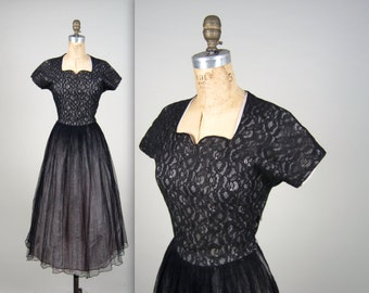 1950s lace evening dress • vintage 50s dress • mesh cocktail dress
