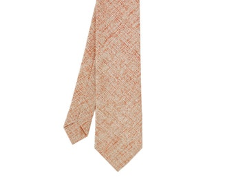 Autumn - Peach/Orange Vintage Japanese Linen Men's Tie