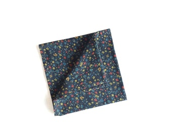 Pip 05 - Navy Floral Pocket Square