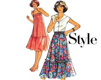 70s Tent Dress & Skirt Pattern Style 2254 Vintage Sewing Pattern Shirring Flounced Hem Size 16 Bust 38 inches