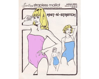 70s One Piece Maillot Swimsuits Pattern Knit N Stretch 488A Vintage Sewing Pattern bathing suit Sizes 8 - 22 UNCUT Ff