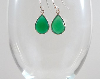 Green Onyx Earrings Onyx Gemstone Earrings Green Gemstone Earrings Onyx Sterling Earrings Green Onyx Drop Earrings