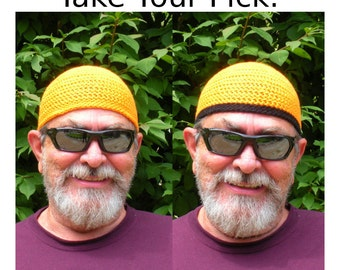 Mens Cotton Skullcap Cooling Cap™ Crocheted in Neon Safety Orange + Optional Bands