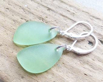Sea Glass Earrings, Green Seaglass Earrings, Sea Glass Jewelry, Peridot Green Sea Glass Dangle Earrings, Ocean, Beach Jewelry, Gift For Her