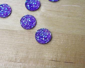 10 Druzy Drusy Round Cabochons Resin Quartz Imitation 12mm Sugar Plum Purple Mermaid [CAB7298]