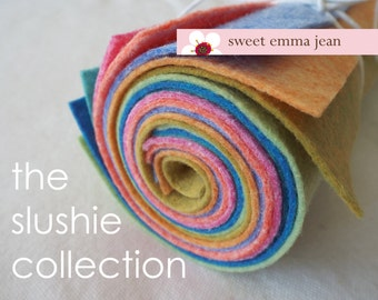 9x12 Wool Felt Sheets - The Slushie Collection - 8 Sheets of Felt