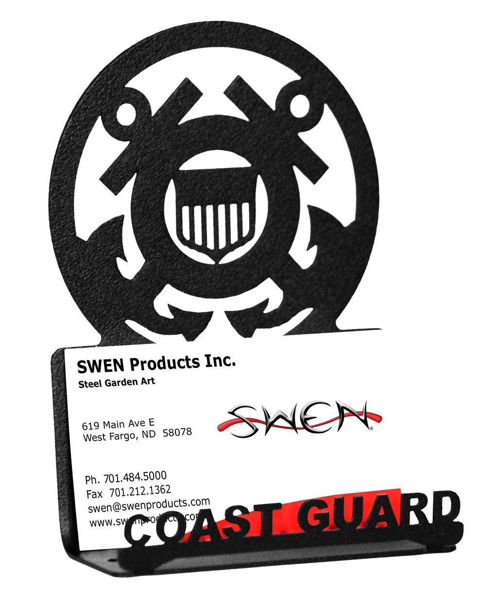Armed Services US Coast Guard USCG Black Metal Business Card Holder ...