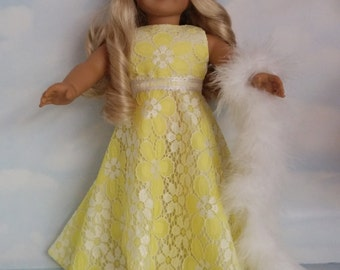 18 inch doll clothes - #213 Yellow and White Gown handmade to fit the American Girl Doll - FREE SHIPPING