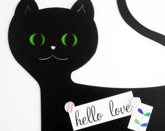 Black cat. Cat wall hanging. Magnetic board Cat. Wall decor. Wall kids decor. Cat lover gift. Lovely black cat. Wall hanging decor.