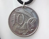 Bird Coin Necklace, Australian 10 Cent, Coin Pendant,  Leather Cord, Men's Necklace, Women's Necklace, 2006