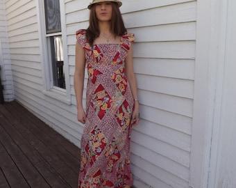 Red Cotton Floral Hawaiian Dress Print Maxi Long Liberty House 70s Hawaii XS