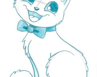 """ORIGINAL - """"Dapper Cat"""" - prismacolor colored pencil - 5x7 art illustration sketch"""
