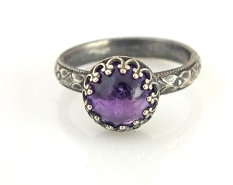 Amethyst Ring, Amethyst Jewelry, Unique Wedding Ring, Womens Wedding Ring, Purple Amethyst Ring, February Birthstone, February Birthday