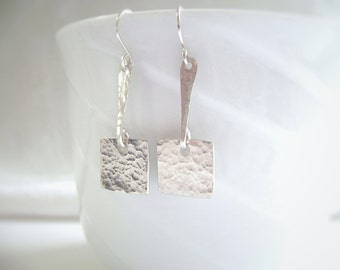 Sterling Silver Earrings, Hammered, Polished, Silver Square, 925 Silver, Handmade Jewelry, Artisan Made, 985
